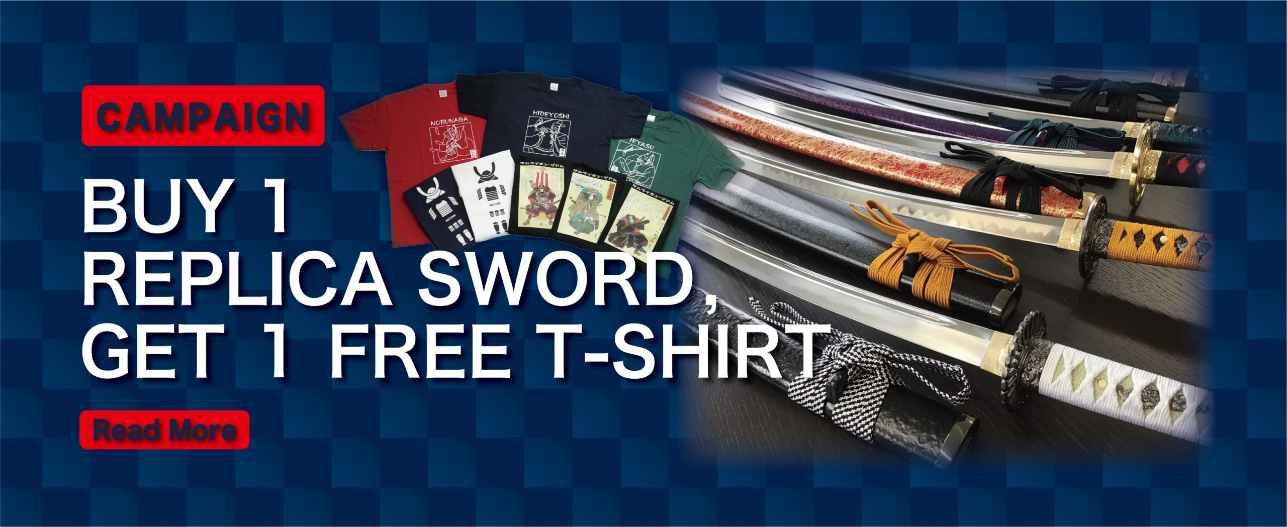BUY 1 REPLICA SWORD, GET 1 FREE T-SHIRT